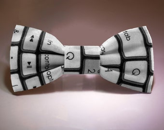 Black and White Keyboard Hair Bow with Removable Alligator Clip