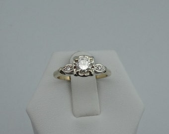 Dazzling 1950's Vintage .55 Carat Diamond Engagement Ring in 14K Yellow and White Gold