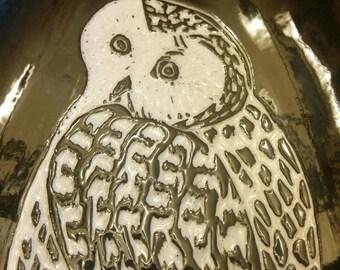 1980s Black White Owl Dish