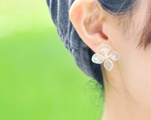 Real Hydrangea Earrings, Lovely 4-Petals with Beautiful White Veins, Post/Stud/Dongle/Hook/Drop Earrings 14k Gold Filled