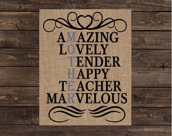 Mother / Gift for Mom / Burlap Print / Mother's Day Gift / Home Decor / Art (#1433B)