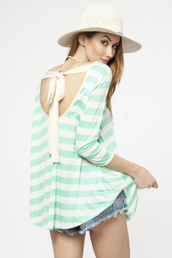 Mint Striped Top Eliza Ash Boutique
