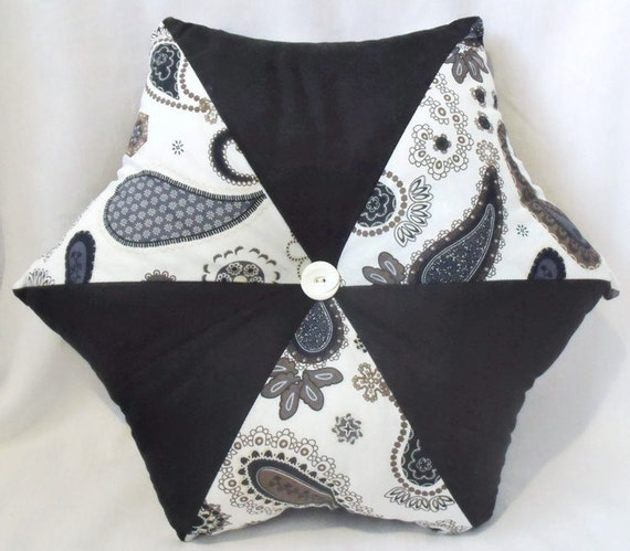 """scatter cushion, paisley hexagonal accent pillow, throw cushion in black and navy fabric 17"""" across"""