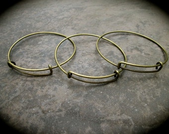Antique bronze Adjustable wire bangle bracelet blanks Set of 9 alloy metal expandable wire bangle bracelet