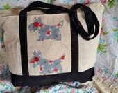 Appliqued by hand. material of Cath kidston Stanley dog  with vintage buttons on the eyes. tote Eco cotton canvas bag