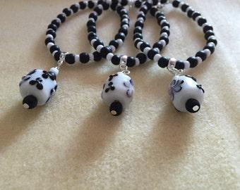 Black and White Glass LampWork Bracelet