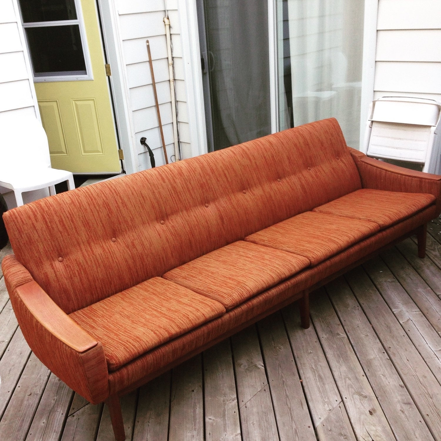 mid century modern extra long sofa couch with teak detail