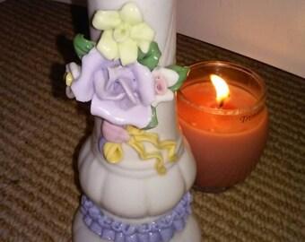 vintage China 3D roses vase,vintage China delicate3dimensional purple yellow pink roses vase,70s pop out rose vase,3D ribbon vase,valentine