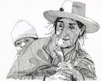 Peruvian Grandfather, Pen and Ink