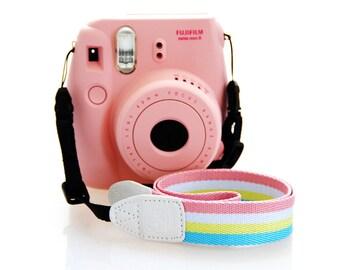 Fujifilm Camera Strap Fuji film Instax Mini Camera Pink Stripe Adjustable Length