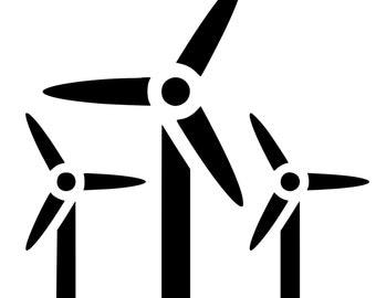 Wind Turbine Die-Cut Decal Car Window Wall Bumper Phone Laptop