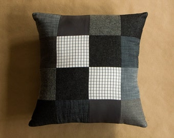 """Black, White and Grey Cushion cover 40cm (16"""") square made from upcycled suiting fabrics"""