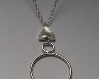 Stylish Long Sterling Silver Chain Necklace with Geometric Pendant