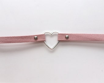 pink suede heart choker.