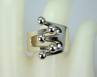 Vintage Modernist 925S AGE Norway Sterling Silver Ring Anna Greta Eker Jester Design Sz 7.5 Slightly Adjustable c1960s-70s