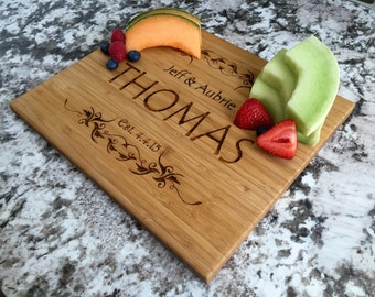 """Personalized Bamboo Cutting Board 11x13"""" (3/4"""" thick)- Thomas Style"""