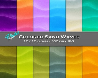 Ombre Colored Sand Waves Backgrounds - Digital Scrapbook Papers - 12 sheets, 12x12, CU OK - Instant Download