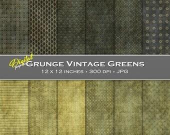Grunge Vintage Green Backgrounds - Digital Scrapbook Papers - 12 sheets, 12x12, CU OK - Instant Download