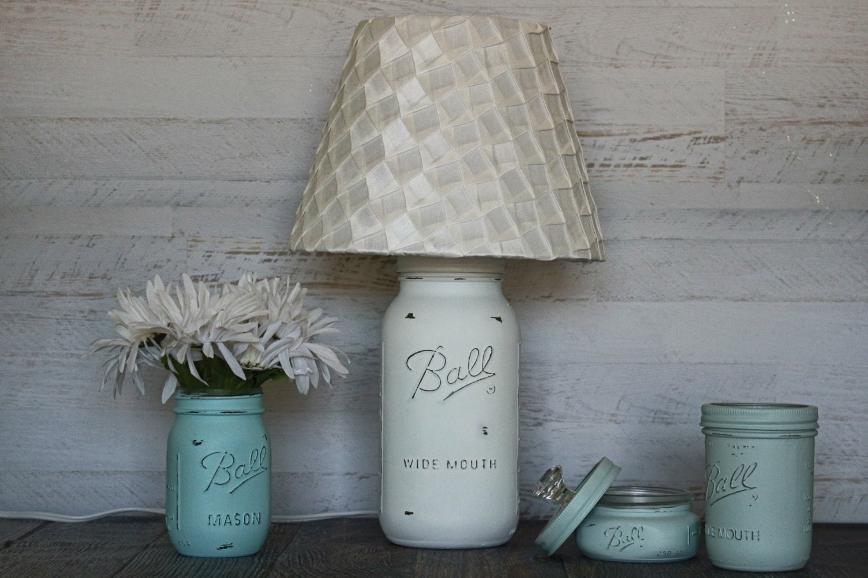mason jar lamp beach cottage table lamp burlap rustic. Black Bedroom Furniture Sets. Home Design Ideas