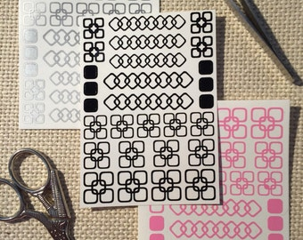 Linked Squares - Vinyl Nail Decals : 32 Color Choices