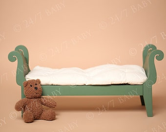 Digital Studio Backdrop Instant Download Vintage Green Bed Scene Prop Newborn Baby Photography