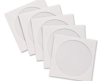 100 White Paper CD/DVD Sleeves with Window-Brand New!