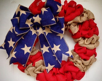 American Flag Burlap wreath fourth of July USA God Bless America Patriotic Red White Blue Stars and Stripes Rustic