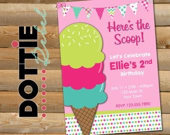 Here's the Scoop! Ice Cream Birthday Invitation, 5x7 verticle
