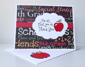 Teacher Thank you card, Hand stamped and colored, Teacher card, Preschool teacher card