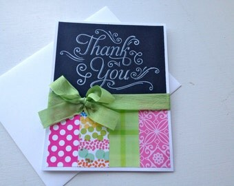 Hand stamped Chalkboard look thank you card