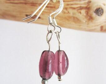 Small purple Pearl Earring