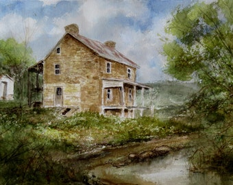 "Watercolor Painting ""Pennsylvania Homestead"" by artist Walt Carter"