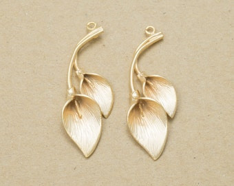 Leaf Pendant, Jewelry Craft Supplies, Leaf Charm, Branch Pendant, Handmade Jewelry, Matte Gold Plated over Brass - 2 Pieces-[GP0006]-MG