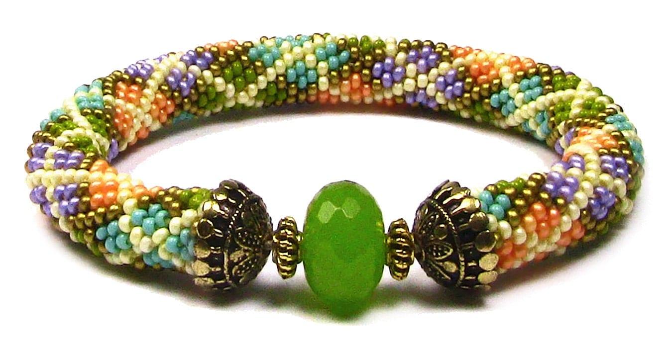argyle bead crochet bracelet instant pattern by