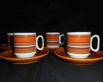 Vintage Tognana Italian Porcelain Espresso / Demitasse Cups and Saucers..Retro Design...