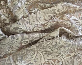 Mocha Metalic Lace Fabric BTY