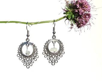 Chandelier earrings, dangle earrings, rainbow moonstone jewelry, silver earring, white moonstone earring, baroque jewelry silver jewelry syn