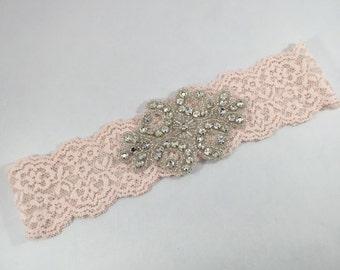 Blush pink rhinestone headband, blush pink stretch lace