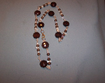 Here Pretty Brown/Chip Crystal Bead Necklace