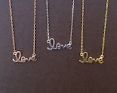 Love Necklace Real Sterling Silver Dainty Looking but Made To Last • Ideal Bridesmaid Necklace • Love Jewelry Gift For Her is Always Sweet