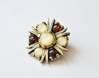 Amber and ivory brooch
