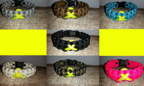 Bladder / Bone / Sarcoma Cancer Awareness 550 paracord survival bracelet yellow ribbon