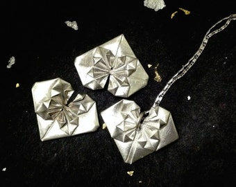 Hand-Folded Fine Silver Origami Blossom Heart necklace
