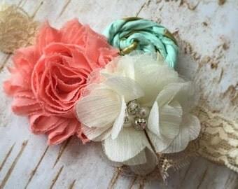 Baby headband, Couture headband, Coral and Mint Headband, Lace headband, Newborn headband,Newborn Photo Prop, Wedding Headband, Vintage