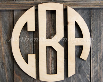 Wooden Monogram - Unpainted Circle Monogram Wall Hanging-Nursery Monogram - Home Decor Monogram - monogram Door Hanger - Circle Monogram