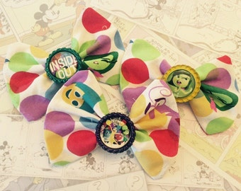 Disney Pixar Inside Out Fabric Hair Bows w/ bottle cap centers Disney FE polka dots party favors birthday party stocking stuffers gift