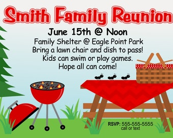 Family Reunion Invitation Picnic in the Park Print at Home