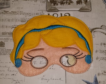 Cinderella Princess inspired mask ITH Project In the Hoop Embroidery Design Costume, Cosplay, Fancy dress, Masquerade, Photo booth, Prop.