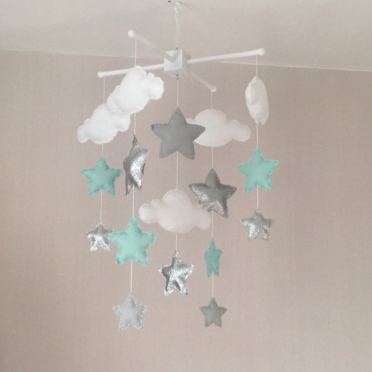Baby mobile crib mobile cot mobile star mobile cloud for Baby mobile pink and grey