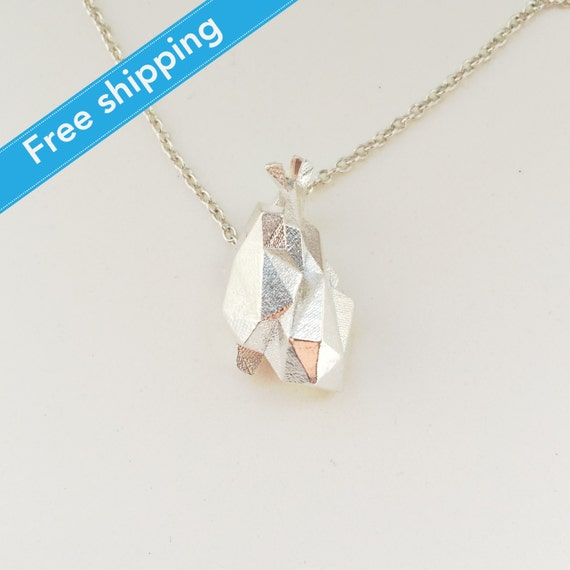 science jewelry: silver origami heart necklace by ... - photo#20